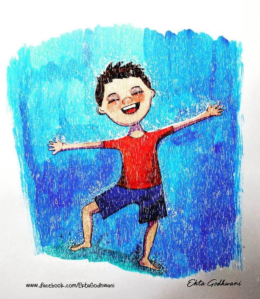 Rainrainy dayhappinesslittle boyillustrationwet boy illustration