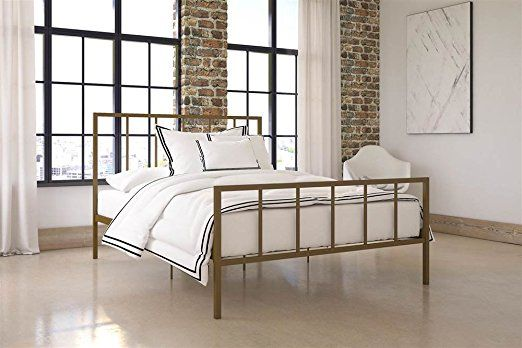 Amazon Com Queen Bed In Gold Finish Kitchen Dining Metal