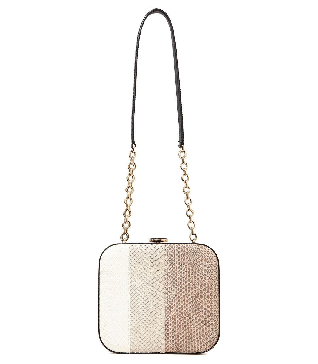 5ed72892edf2 This Bally Delfina snakeskin box clutch on  ShopBAZAAR can also be worn  with the gold chain strap as a chic cross-body bag.