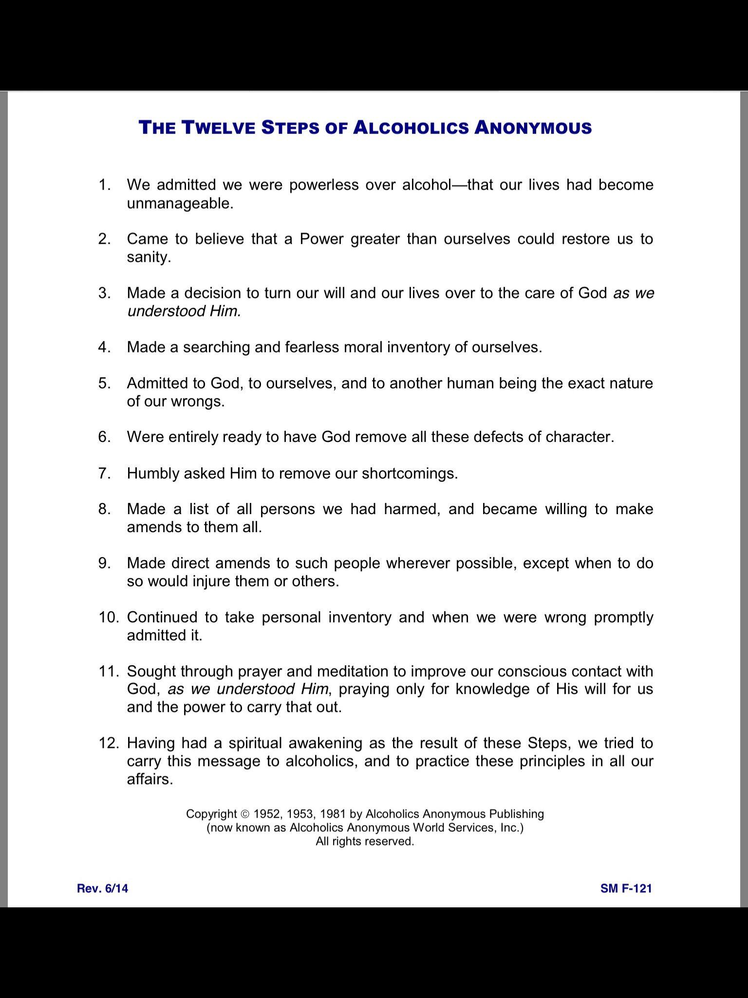 Twelve Steps Of Aa