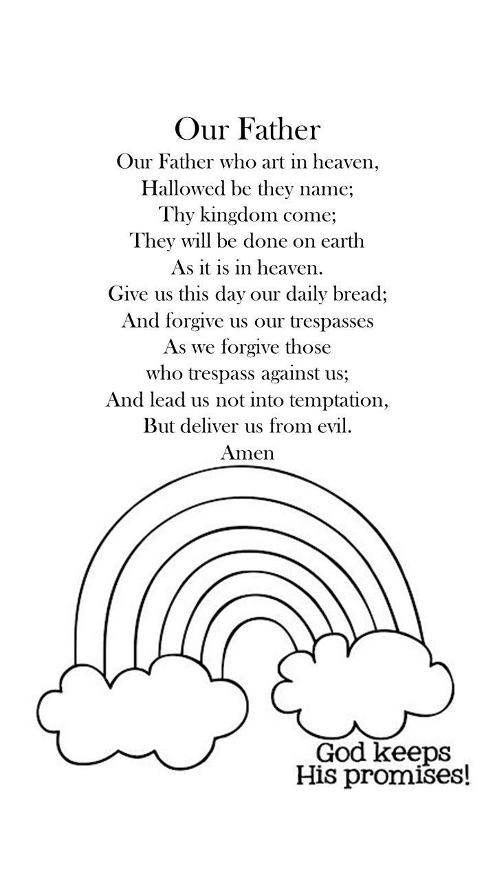 Coloring Pages Quail From Heaven - Our father simple printable to color with rainbow god keeps his promises