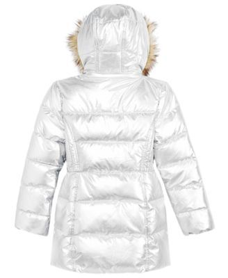 dddbde736cb4 Michael Michael Kors Toddler Girls Hooded Puffer Stadium Coat with Faux-Fur  Trim - Silver 3T