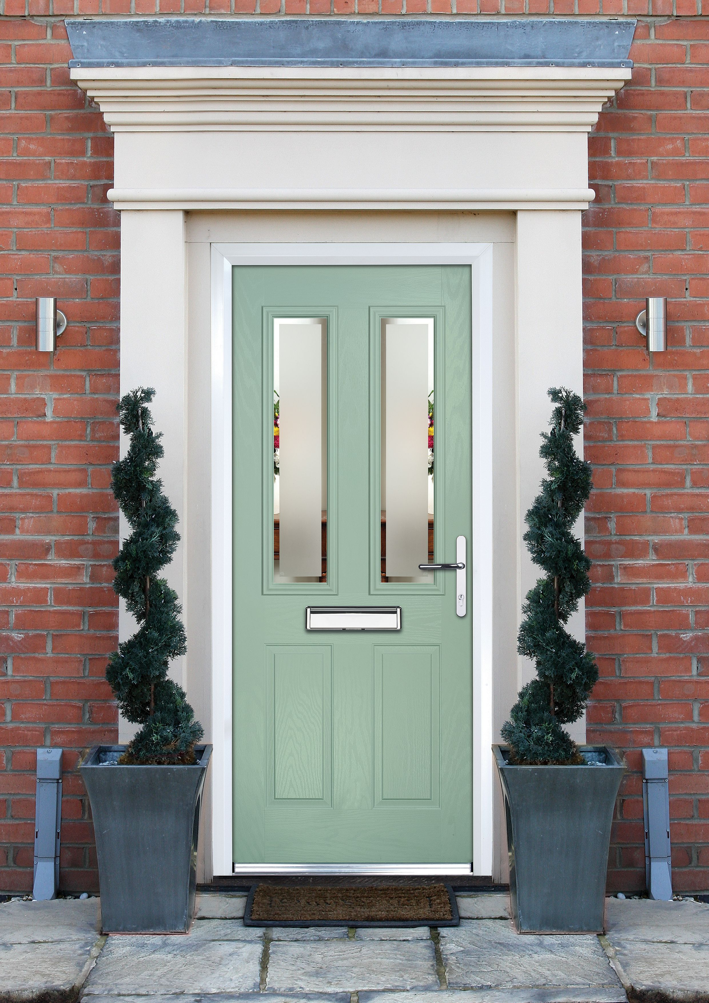 Crystal 4 Panel Frosted Glazed Green Composite Lh External Front Door Set H 2055mm W 920mm In 2020 External Front Doors External Doors Front Door Design