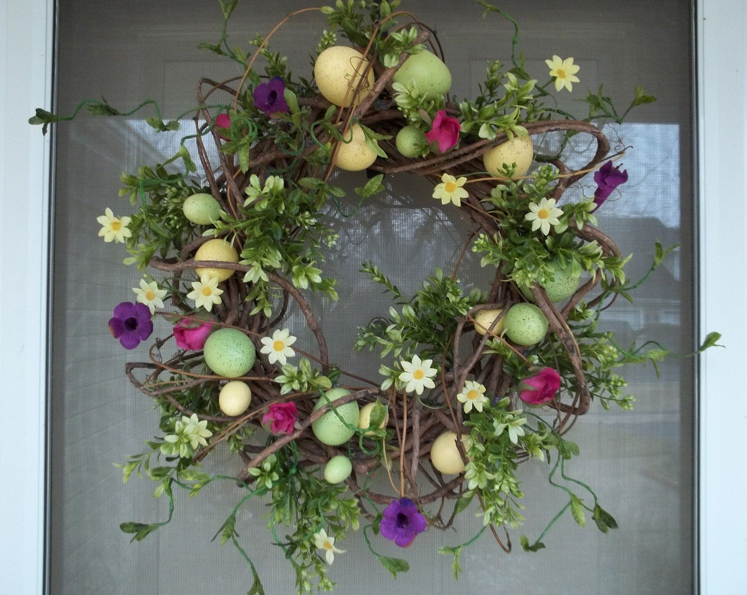 Door wreath,Greenery wreath,Easter wreath,front door wreath ...