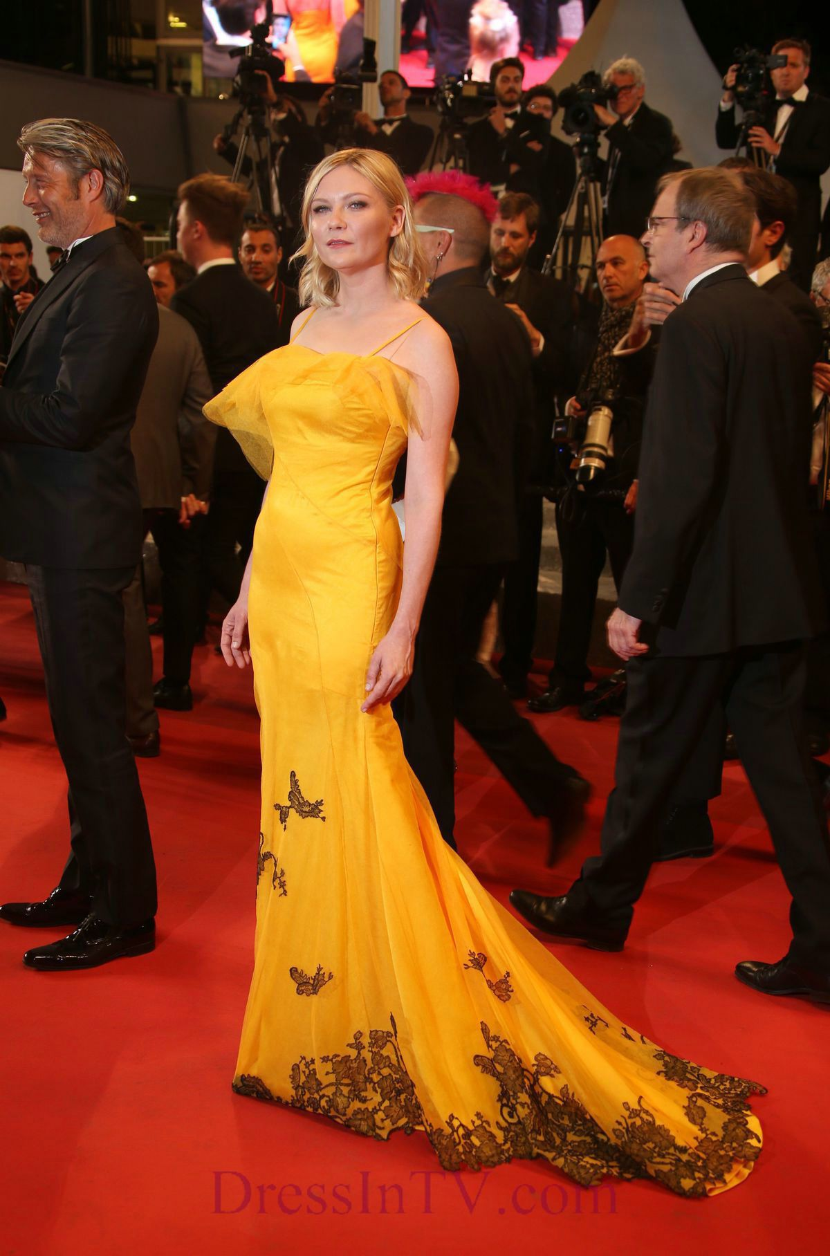 Spaghetti chiffon yellow with black kirsten dunst evening prom dress