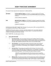 Asset Purchase Agreement Simple  Template  Sample Form  Biztree