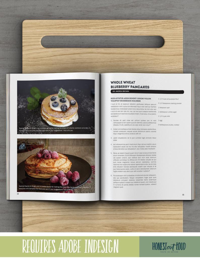 Cookbook Recipe Template For Adobe Indesign Instant Etsy In 2021 Recipe Template Cookbook Recipes Cookbook Template