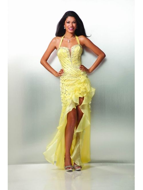 a177cf3270b Gorgeous Sexy Halter Sequins High-low Daffodil Organza Prom Dress Under 150
