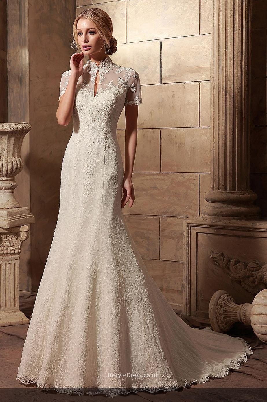 Vintage wedding dress under 500  Vintage Lace Short Sleeves High Neck Mermaid Wedding Dresses