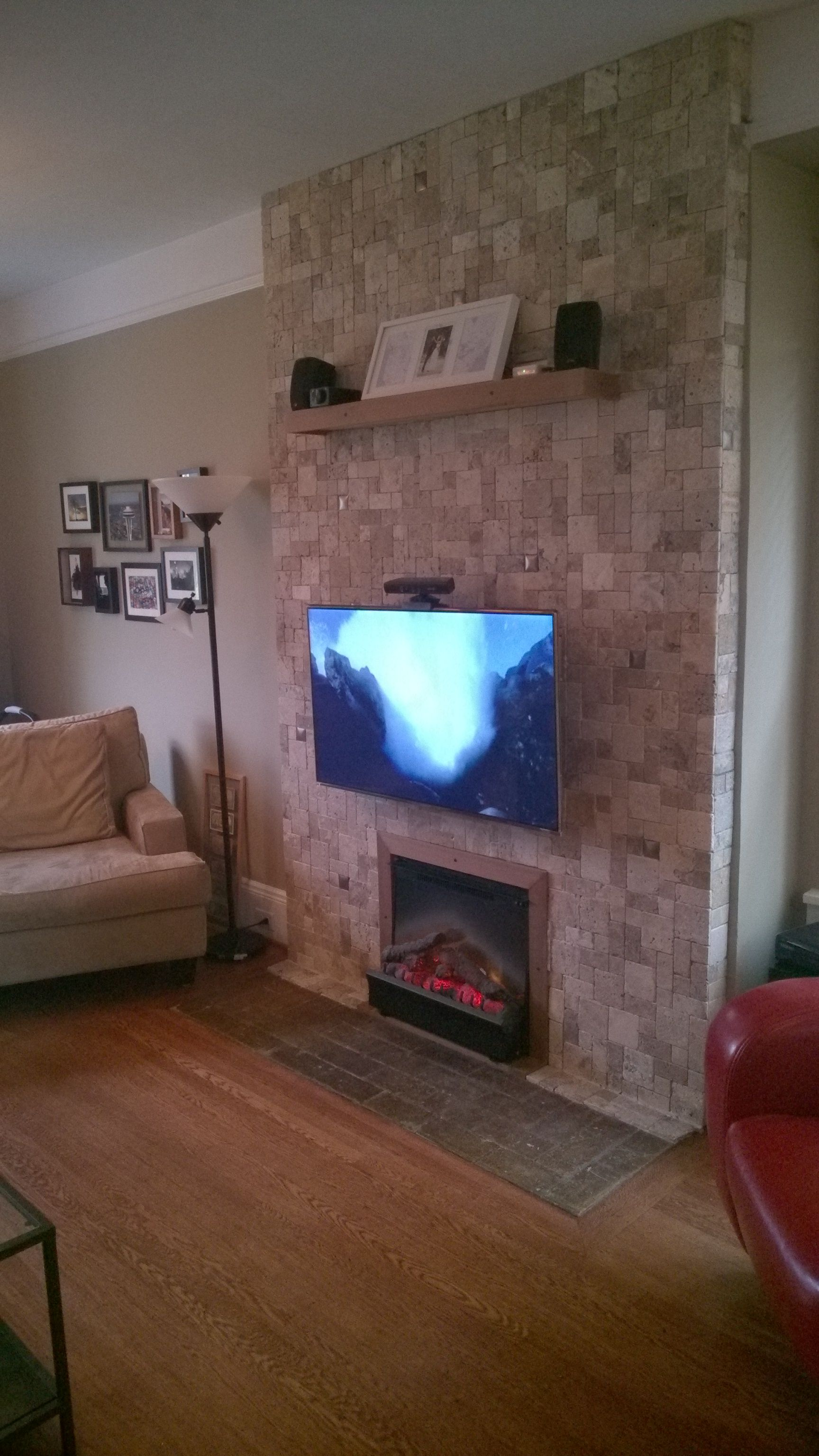 samsung tv lowes. samsung tv with an kinect mounted omnimout above electric fireplace. reclaimed wood for the shelf and fireplace frame. stone tiles from lowe\u0027s. tv lowes