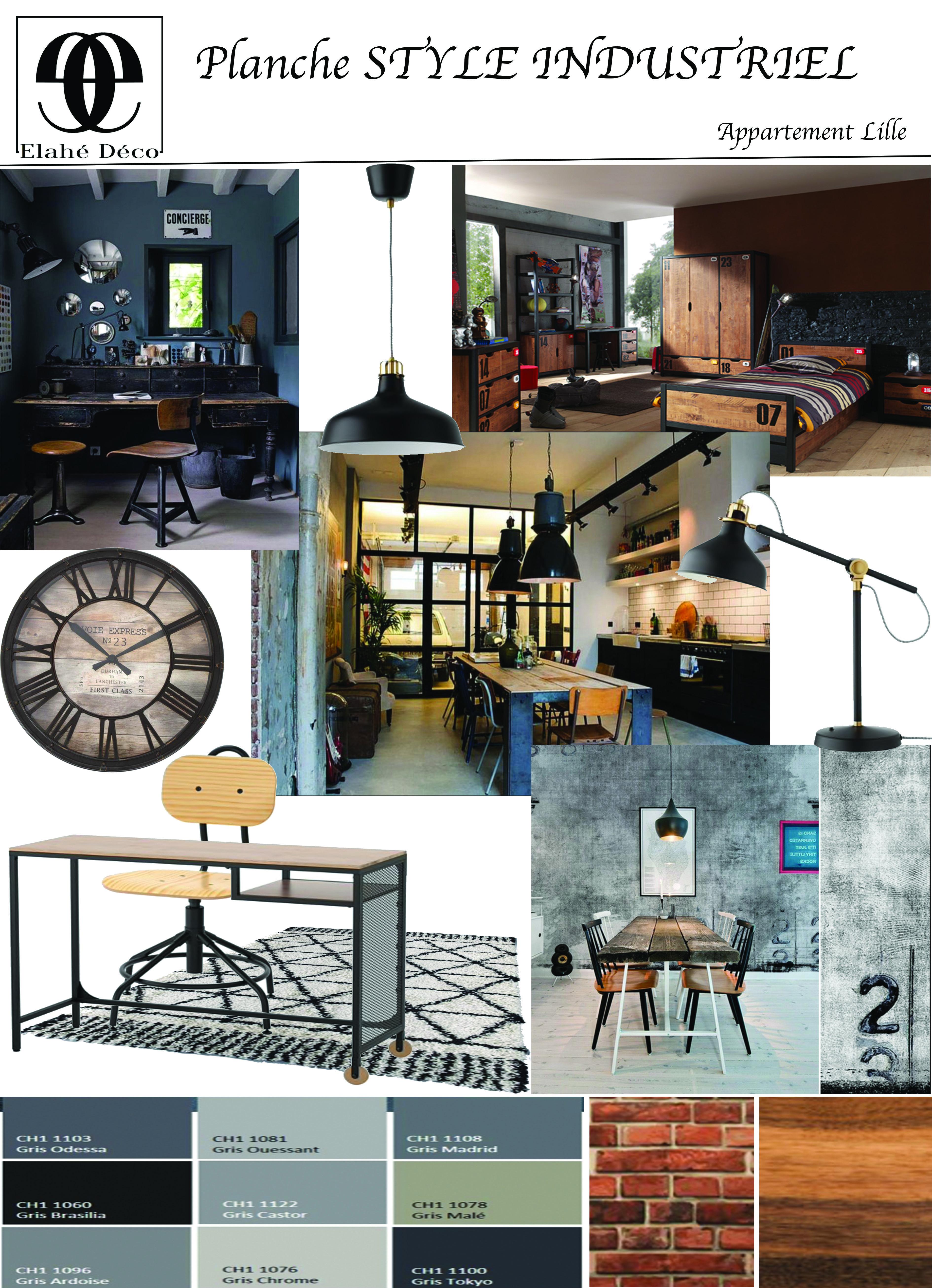 Elahe Deco Enregistree Dans Style Industriel Decoration Et Amenagement Interieur Planche D Ambiance Deco Style Industriel Deco Loft Industriel Design Despace