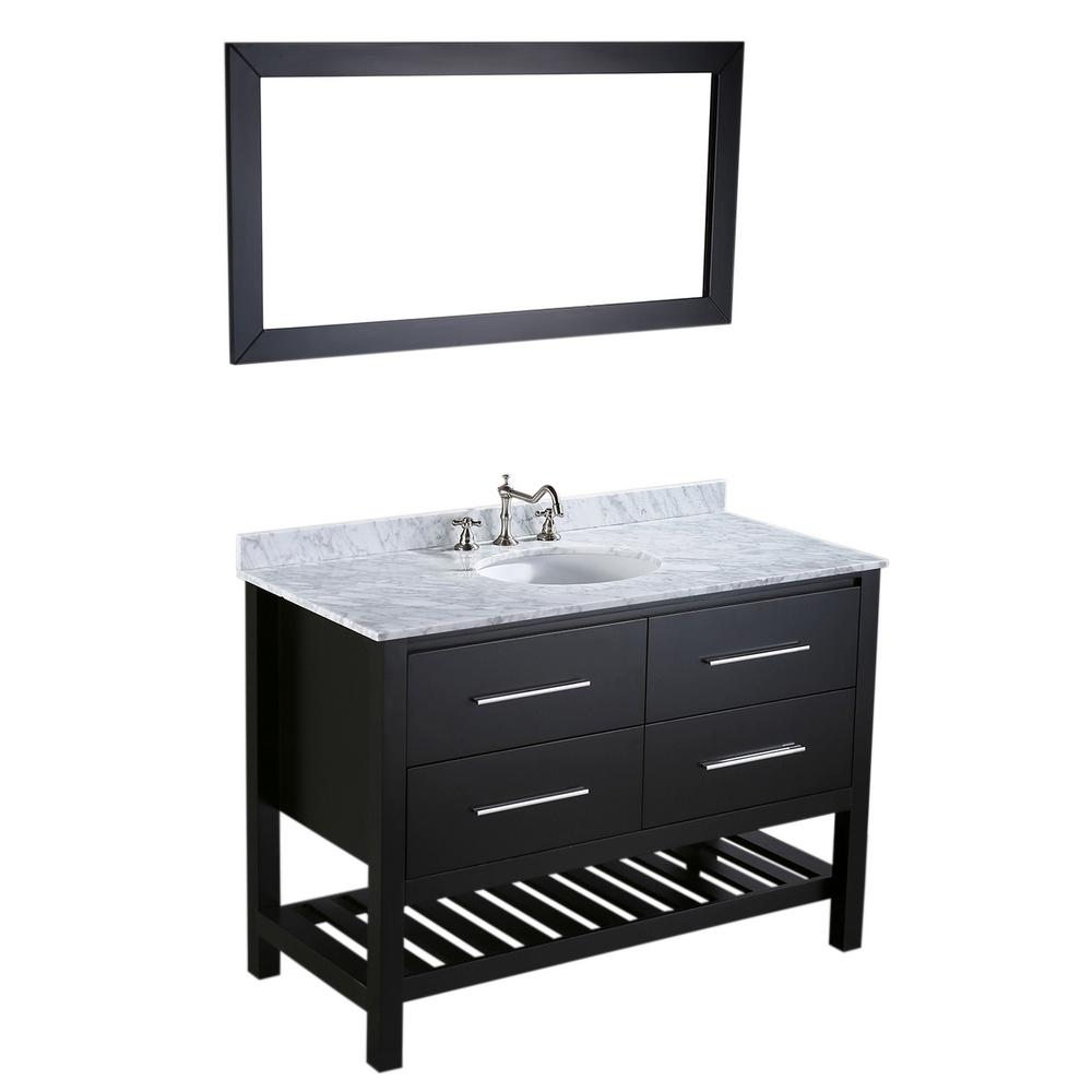 Bosconi Bosconi 47 In W Single Bath Vanity In Black With White Carrara Marble Vanity Top In White With White Basin And Mirror Sb 250 4 Marble Vanity Tops Bath Vanities Solid Wood Cabinets