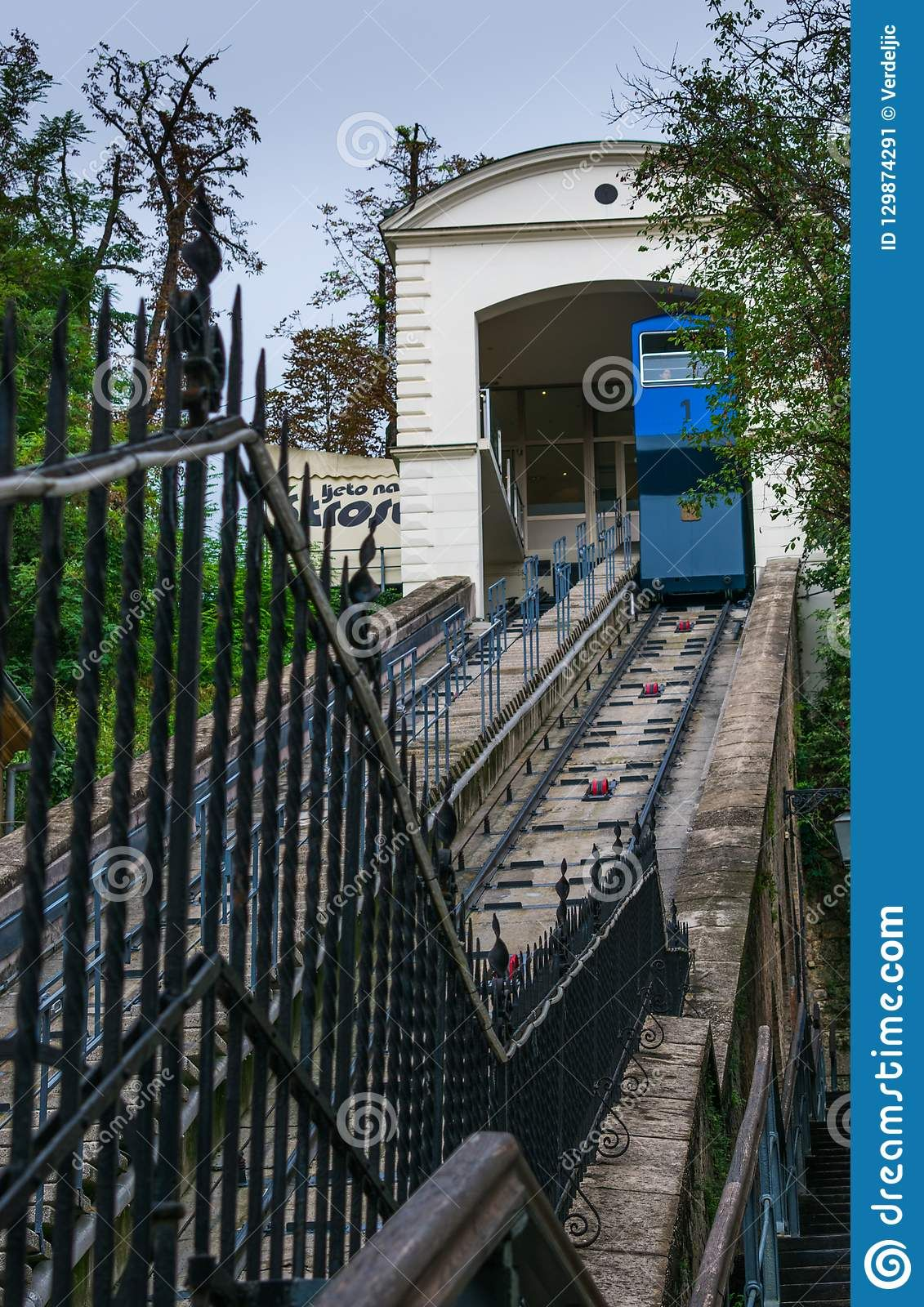 Photo About View Of The Famous Blue Funicular Leading To Upper Old Town Of Zagreb Capital Of Croatia Image Of Clouds Funicular Clou Old Town Zagreb Croatia