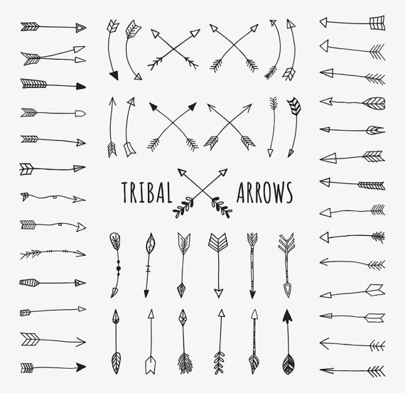 Tribal Arrows Clipart Commercial Use Clip Art Doodle Arrows Hand Drawn Aztec Black And White Tribal Archery Scrapbook Tribal Arrows How To Draw Hands Heart Clip Art