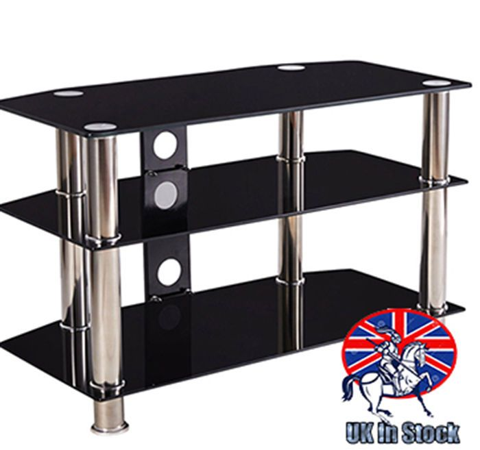 Black Glass Tv Table Stand Media Entertainment Unit Hifi Stainless