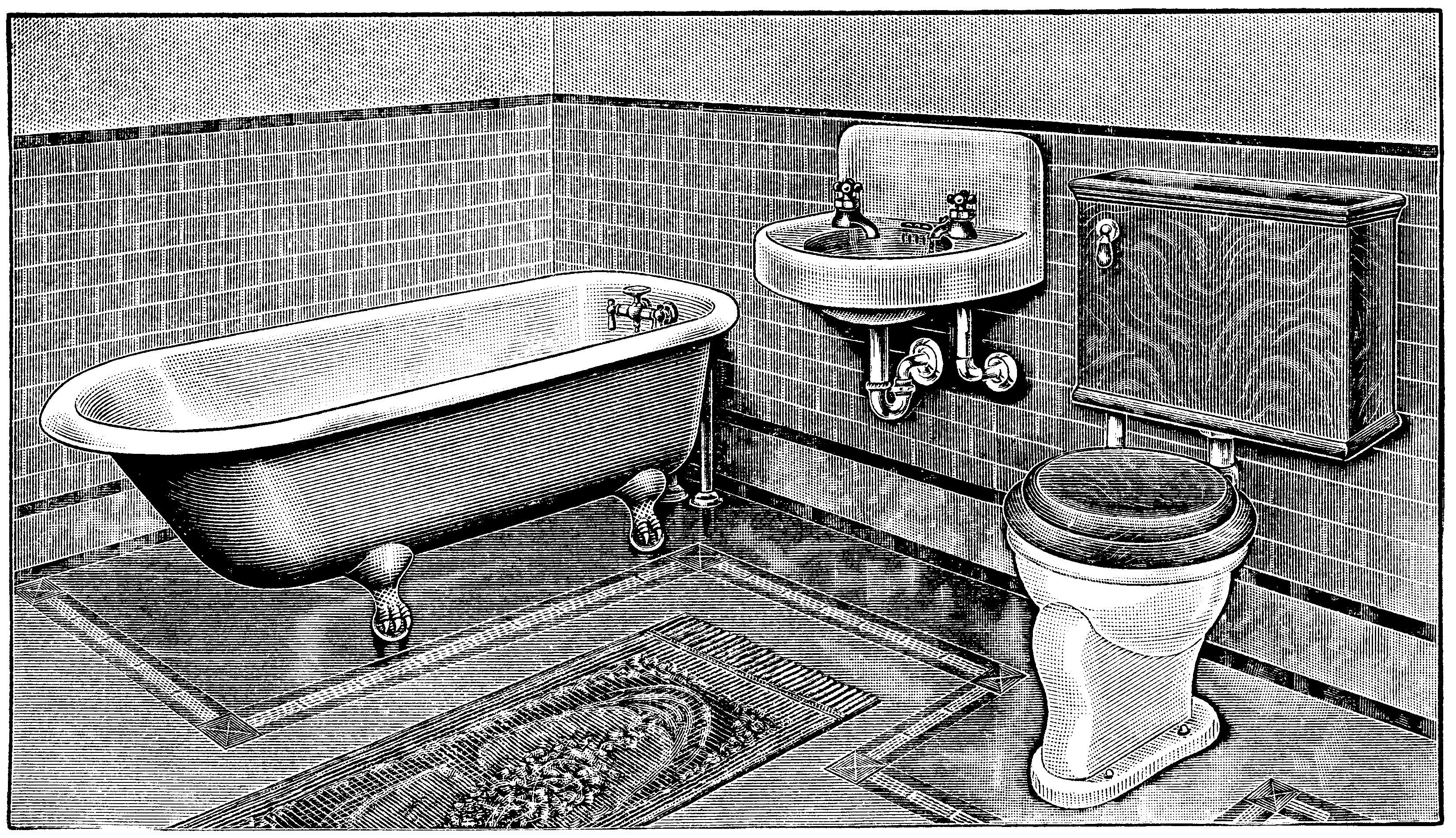 Vintage Bathroom Bathroom Clip Art Claw Foot Tub Illus Antique