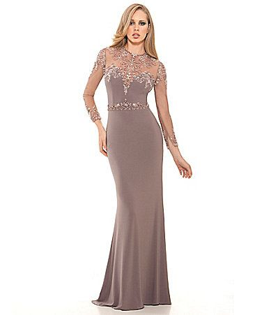 Lasting Moments Illusion Beaded Neckline Gown #Dillards | Shopping ...