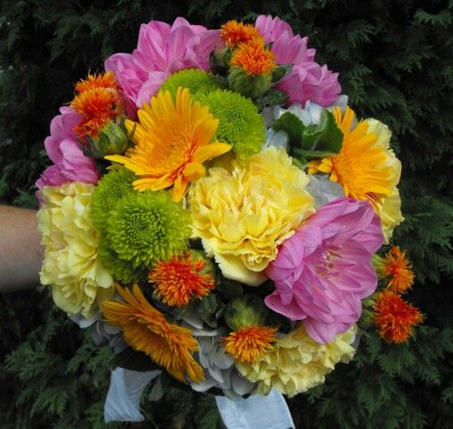 Colorful Wedding Bouquet Arranged With: Pink/Yellow/Orange/Green Dahlias & Chrysanthemums + Green Foliage