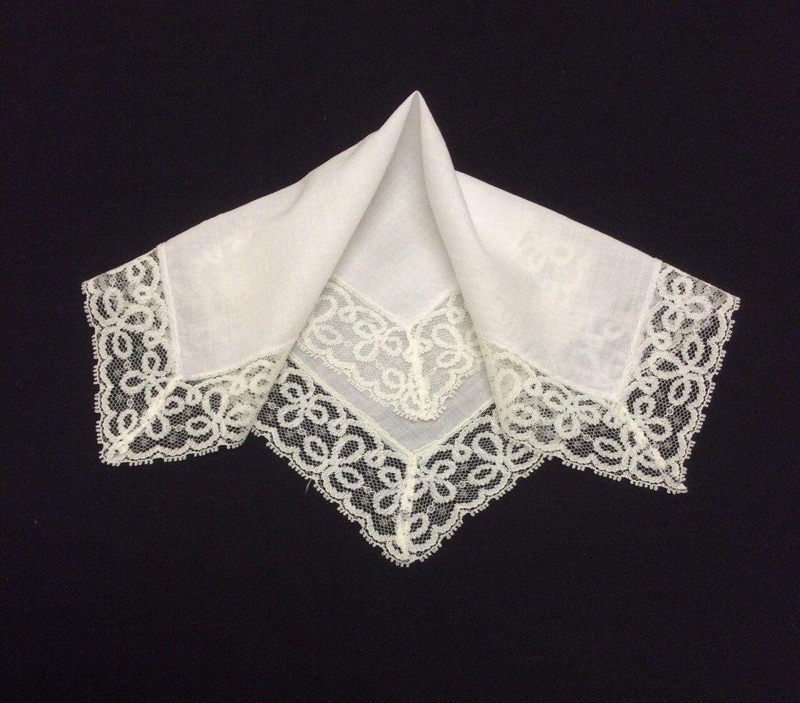 Vintage Lace Wedding Handkerchief Embroidered Net Hankerchief White Bridal Hankie Hanky