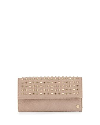 Studded+Flap-Top+Continental+Wallet,+Blush+Pink+by+Neiman+Marcus+at+Neiman+Marcus+Last+Call.