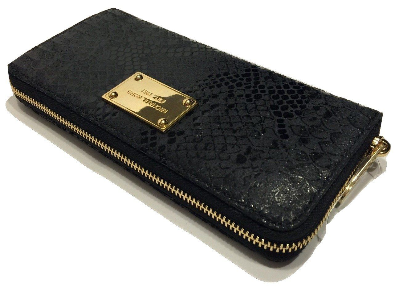 d5e07361cf97 Michael Kors Jet Set ZA Continental Clutch Wallet Black Distressed Python  Leather