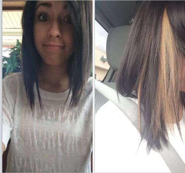 Just Got My Hair Done Dark Brown Hair With One Blonde Streak One Blonde Streaks Blonde Streaks Hair