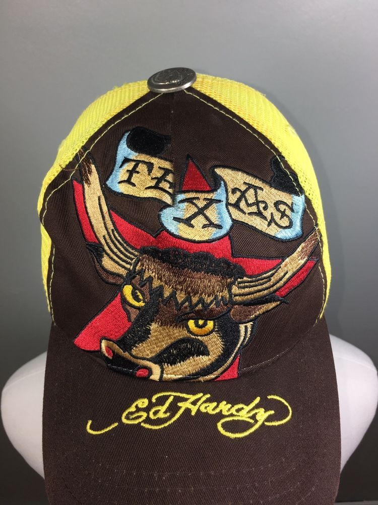 3339ee5accd Don Ed Hardy Trucker Cap Embroidered Texas Bull Adjustable Snapback  Yellow Brown  fashion  clothing  shoes  accessories  mensaccessories  hats  (ebay link)