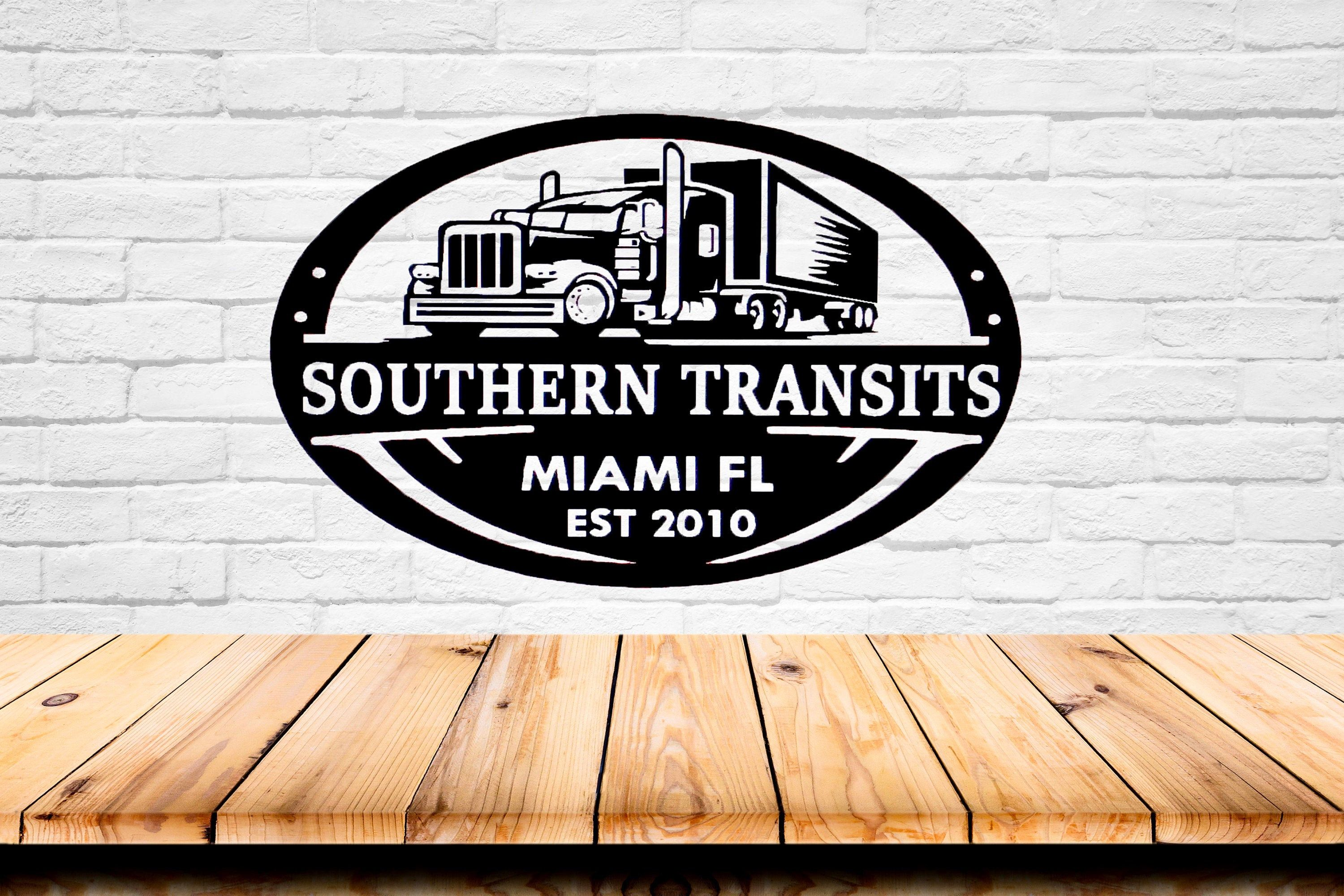 Trucking Company Sign | Truck Driver Gift | Transport Business Sign | Personalized Metal Art