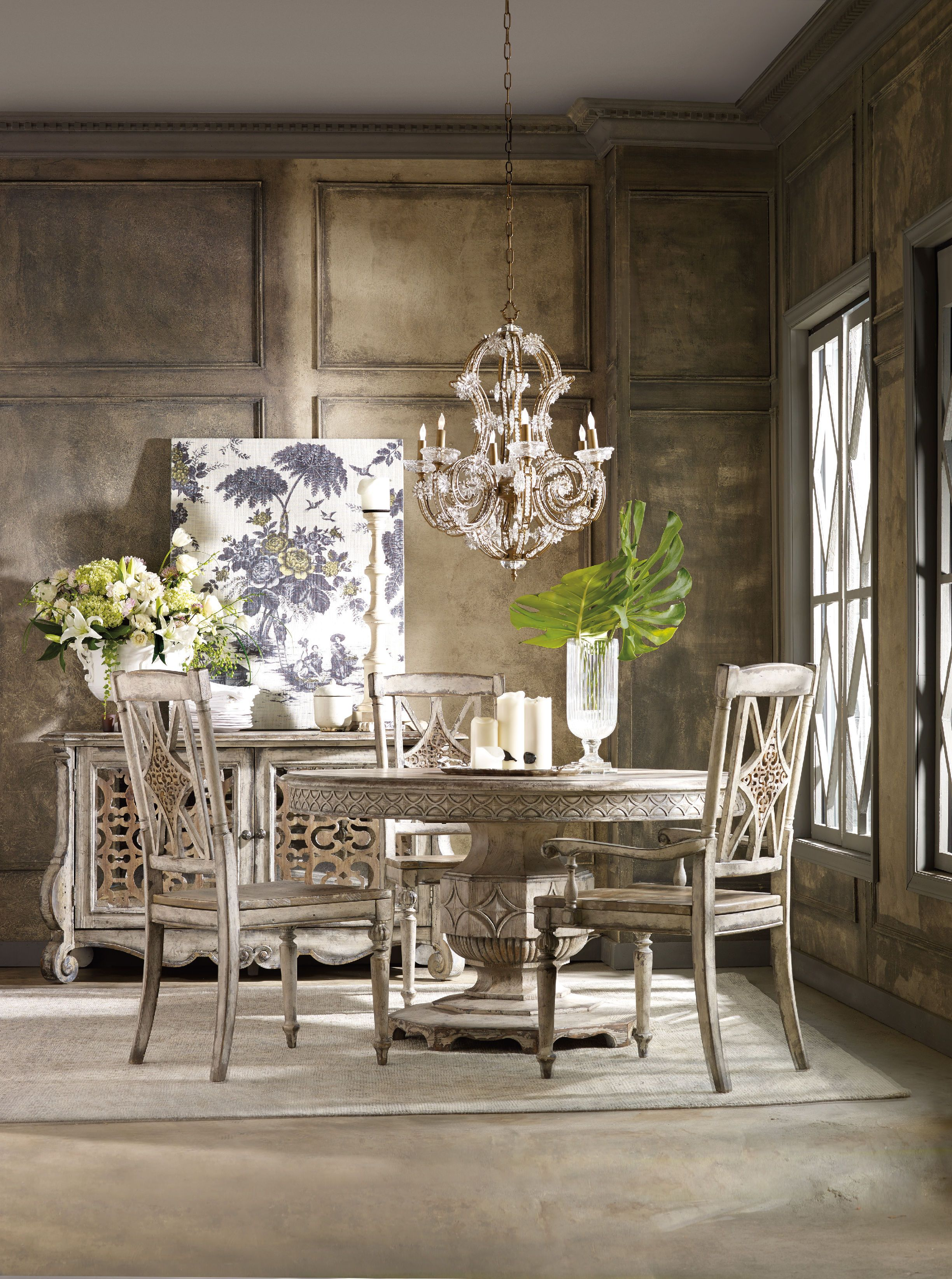 Hooker Furniture Dining Room Chatelet Round Dining Table With One Entrancing Single Dining Room Chairs Decorating Design