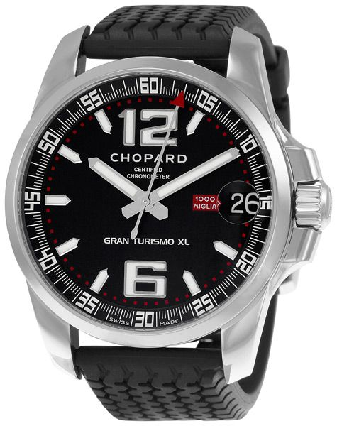 Chopard Mille Miglia Gran Tourismo Watch 168997-3001: Stainless steel case with a rubber strap. Fixed stainless steel bezel. Midnight black dial with luminous hands and index hour markers. Arabic numerals mark the 6 and 12 o'clock positions. Minute markers around the outer rim. Luminescent hands and dial mar Tags: chopard, miglia, mille, steel, hands, watches, stainless, markers, dial, 3001, watch, 168997, tourismo, gran