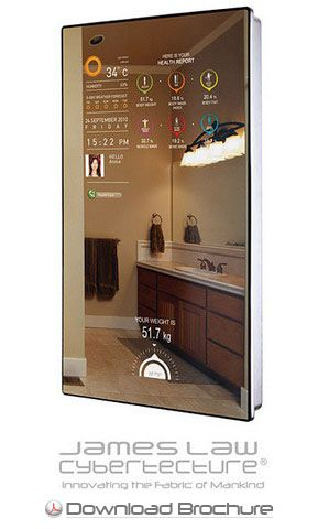 cybertecture mirror displays information from your smart phone really cool stuff i like. Black Bedroom Furniture Sets. Home Design Ideas