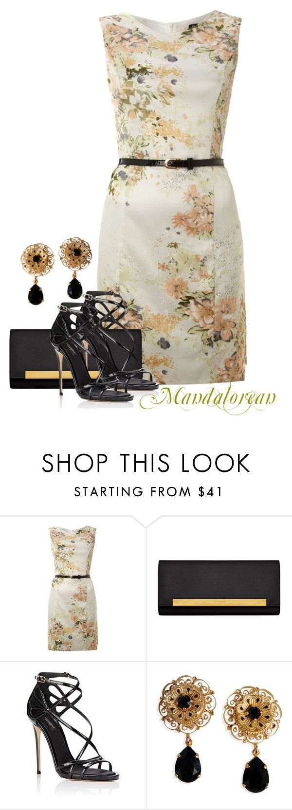 """""""Shift Dress"""" by mandalorean ❤ liked on Polyvore featuring Atelier 61, Yves Saint Laurent and Dolce&Gabbana"""