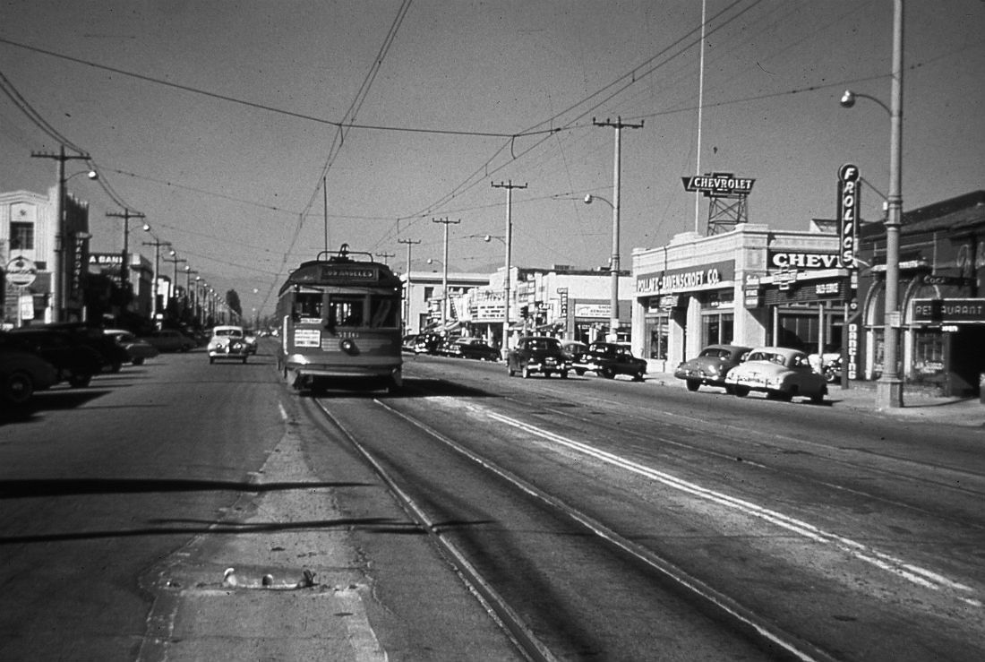 View Looking North On Van Nuys Boulevard Showing A Pacific Electric Red Car Bound For Los Angeles The Rivoli Theatre Is Seen To Right Of Streetcar