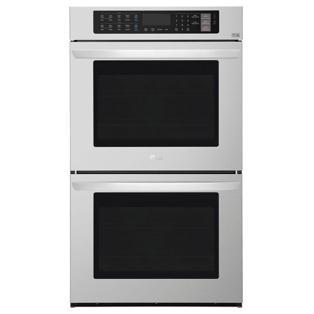 Lg Electronics 30 In Double Electric Wall Oven Self Cleaning With Convection And Easyclean In Stainless Steel Lwd3063st The Home Depot Convection Wall Oven Electric Wall Oven Double Electric Wall Oven