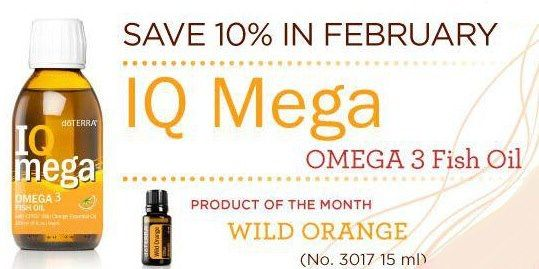 FEBRUARY 10% off Promo and Product of the month:  Save 10% on IQMega FREE 15ml Wild Orange with 125pv LRP Order at : www.mydoterra.com/197502/
