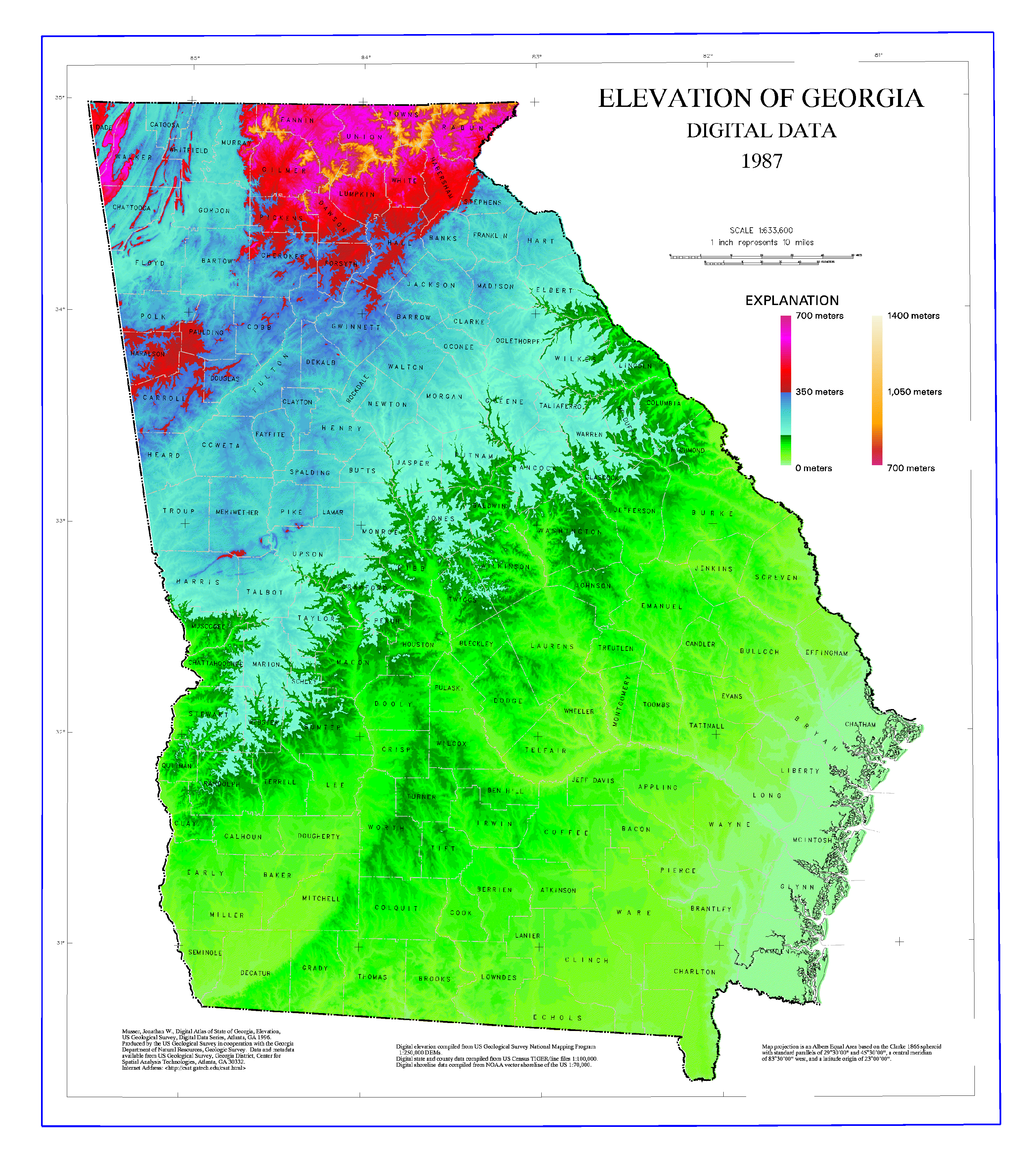 Elevation map of Georgia | History | Georgia, Georgia girls, Map