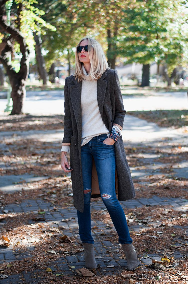 Masculine Coat Over J Crew Turtleneck and Joe's Jeans // fall outfit