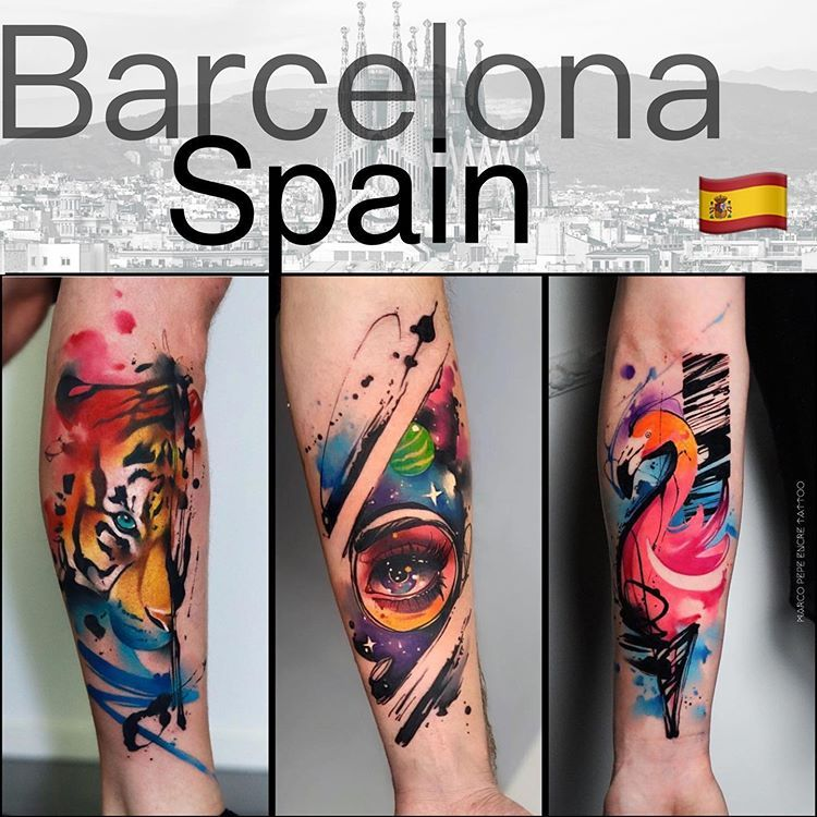 Hey 🇪🇸 I will be in Spain 🇪🇸 Barcelona, I have only one available spot the 22th of January . If u wanna one of my work u can write a pm or contacting via email (u can find in my bio) watercolor HardPainting #spaintattoo Marco Pepe Encre Tattoo#modernart #theartoftattoos #watercolor #worldfamousink #inkstinctofficial #contemporarytattooing #tttpublishing #tattooselection #radtattoos #skinart_mag #inspirationtattoo #thinkbeforeuink #tattooistartmagazine #tattrx #tattoomobile #tattoo2me #inksti