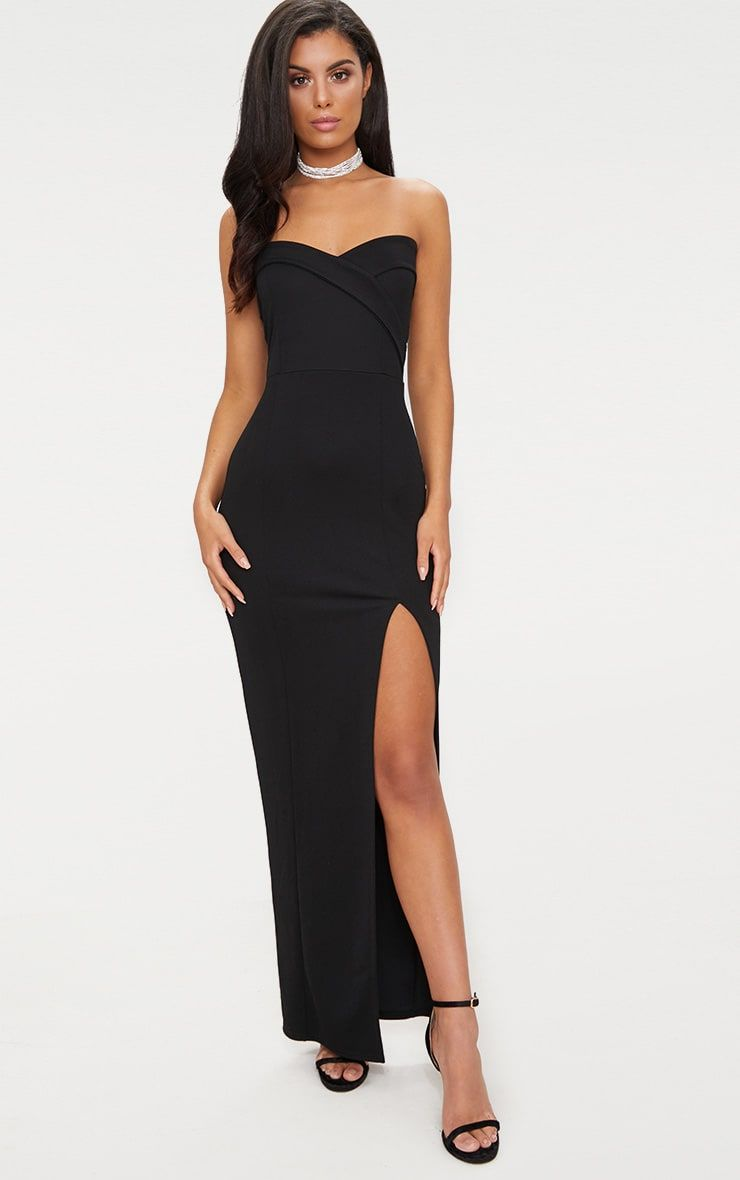 87dc83b59e94 Black Bandeau Folded Detail Extreme Split Maxi Dress . Shop the range of  dresses today at PrettyLittleThing. Express delivery available. Order now