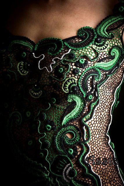 detail of Irish Crochet lace dress. Beautiful work