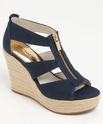 pretty navy blue wedge sandals | Shoes, Wedge sandals, Women