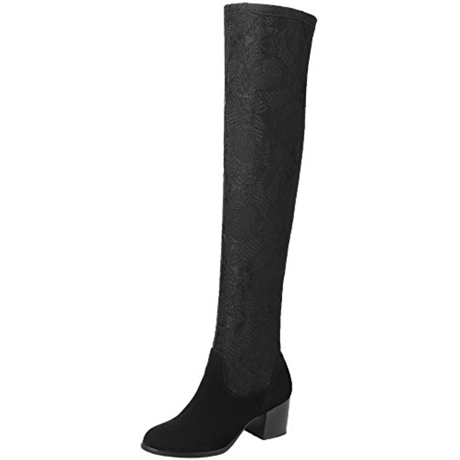 Over The Knee Boots Sexy Lace Mesh Elastic Chunky Women Thigh High Boots By BIGTREE