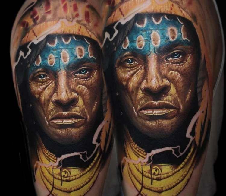 Native American Tattoo By Vacsi Levente Post 26270 Native American Tattoo Tattoos Native American
