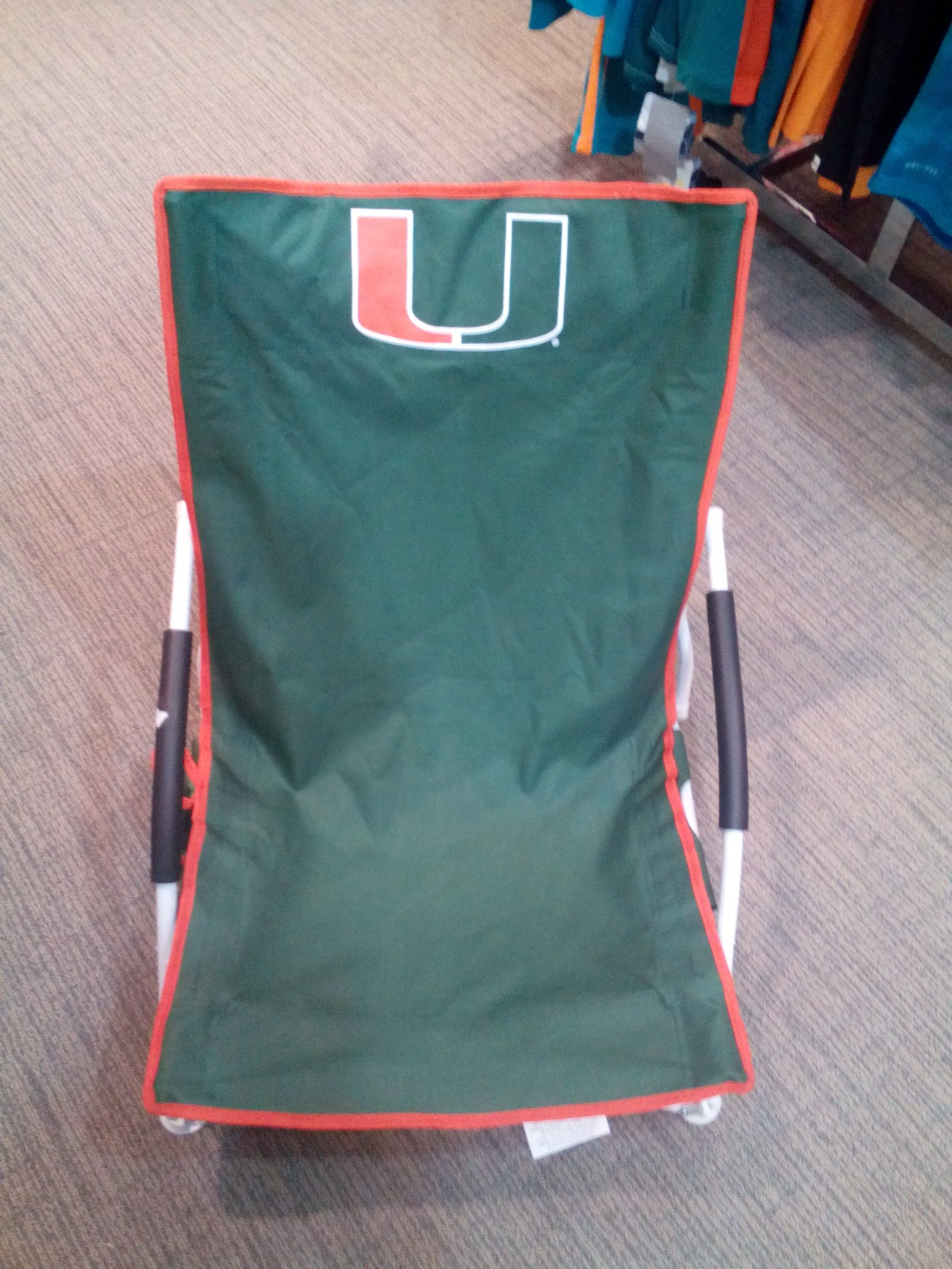 Miami Hurricanes Beach chair..Available in store and