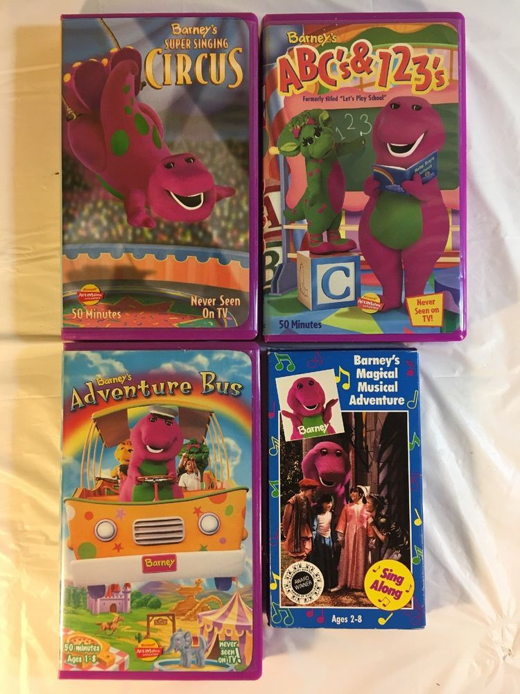 Barney Vhs Lot Of 4 Abcs 123s Adventure Bus Musical Circus