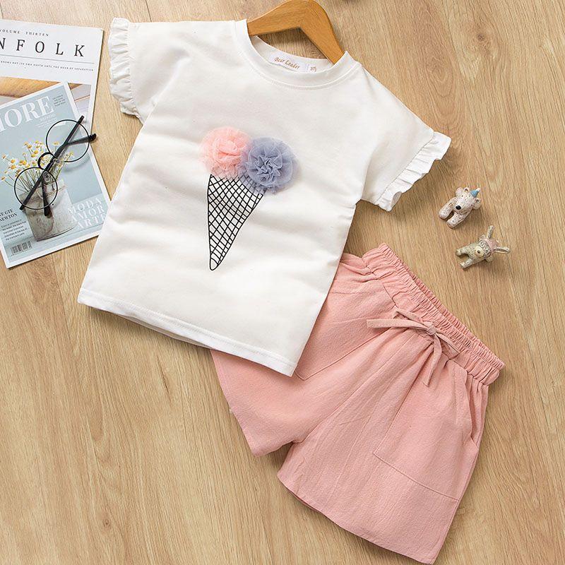 3 piezas traje Bebé Niña Conjunto Ropa Bebe Top T-Shirt Pantalones Ropa de Bebes