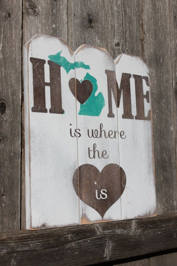Michigan Home is Where the Heart is SIgn - Wall Decor | Michigan ...