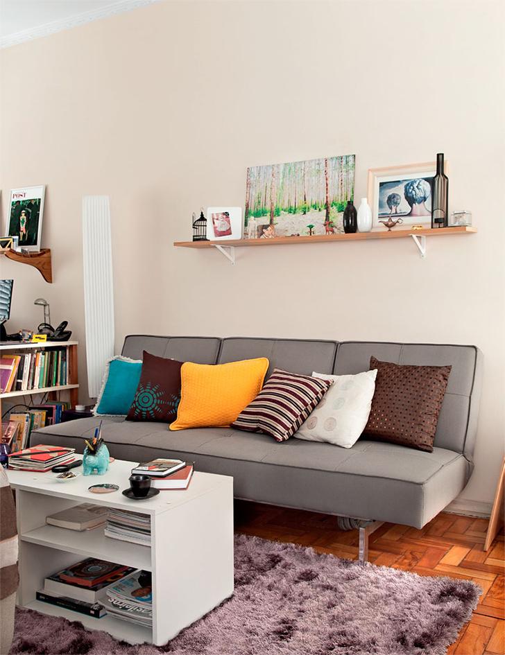 Apartamento pequeno de 46m decorado com criatividade e for Apartamentos decorados pequenos