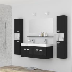Meuble sous vasque double vasque céramique 2 colonnes miroir