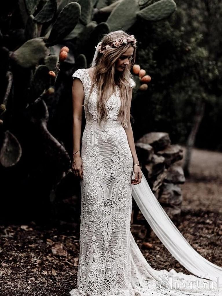 Vintage Lace Rustic Wedding Dresses Cap Sleeve Sheath Boho Wedding Dress AWD1347... 4